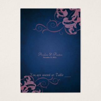 Noble Blue & Pink Scroll Table Placecard Business Card