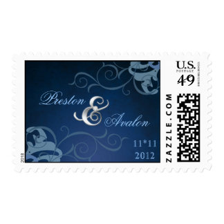 Noble Blue Save The Date Blue Scroll Postage