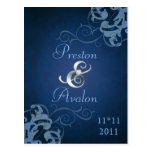 Noble Blue Scroll Blue Save The Date Postcard