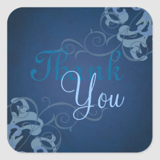 Noble Blue Scroll Blue Thank You Sticker