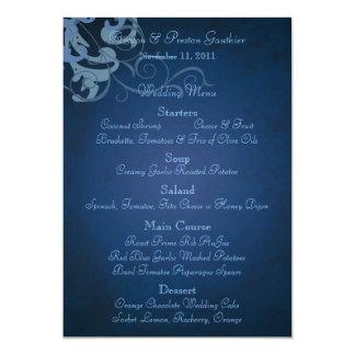Noble Blue Scroll Blue Wedding Menu Card