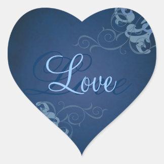 Noble Blue Scroll Heart Blue Love Sticker