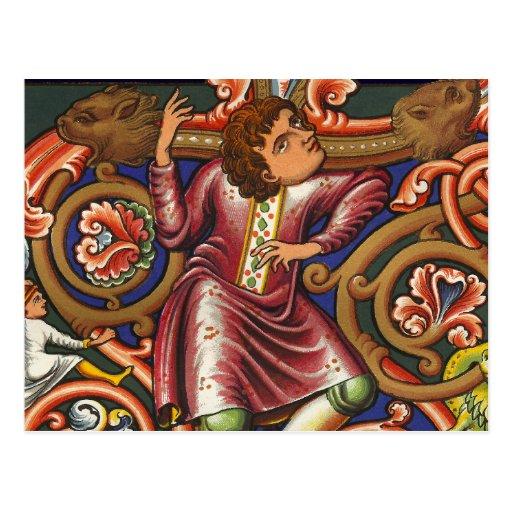 Noble elegante del baile del manuscrito medieval tarjeta postal