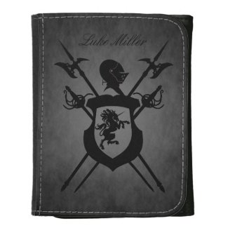 Noble Gentleman Crest Monogram Black Leather Wallet