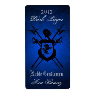 Noble Gentlemen Knights Crest Blue  Beer Label