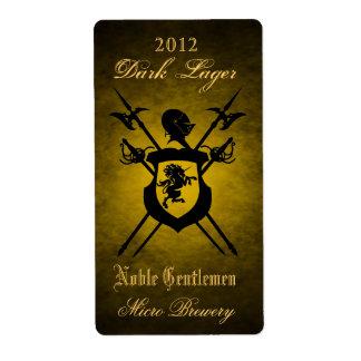 Noble Gentlemen Knights Crest Gold Beer Label