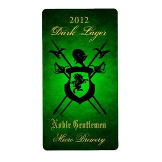 Noble Gentlemen Knights Crest Green Beer Label