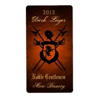Noble Gentlemen Knights Crest Orange Beer Label