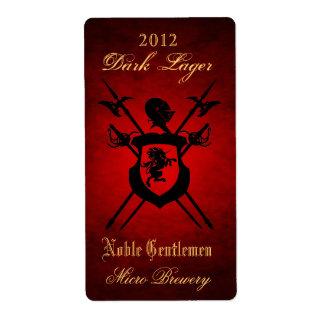 Noble Gentlemen Knights Crest Red Beer Label