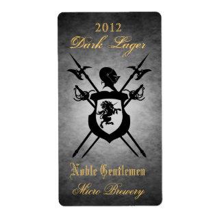 Noble Gentlemen Knights Crest Silver Beer Label