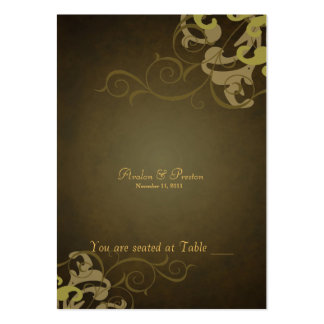 Noble Gold & Brown Scroll Table Placecard Large Business Cards (Pack Of 100)