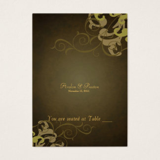 Noble Gold & Brown Scroll Table Placecard Business Card