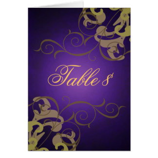 Noble Gold & Purple Scroll Table Card