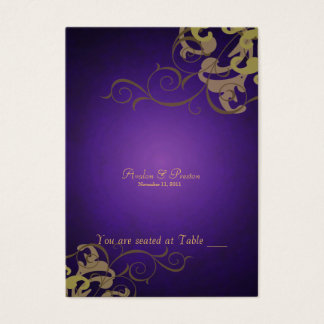 Noble Gold & Purple Scroll Table Placecard Business Card