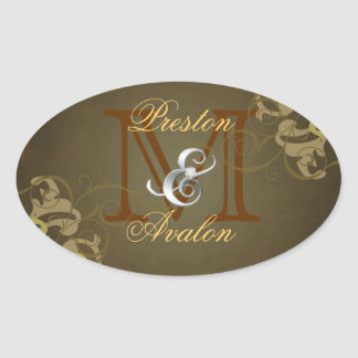 Noble Gold Scroll Monogram Brown Sticker