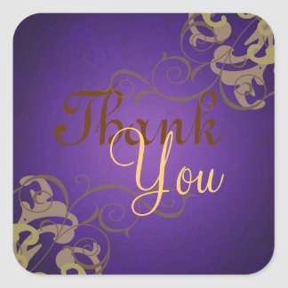 Noble Gold Scroll Purple Thank You Sticker