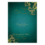 Noble Green & Gold Scroll Table Placecard Business Card