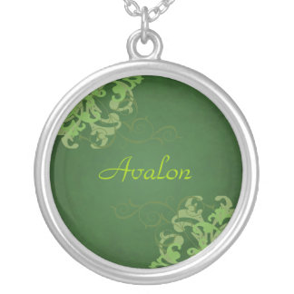 Noble Lime Scroll Green Necklace