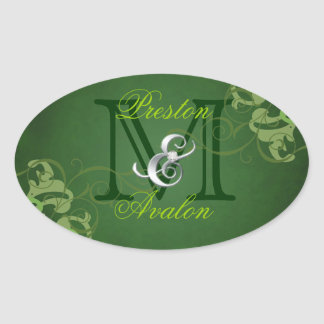Noble Lime Scroll Monogram Green Sticker