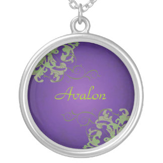 Noble Lime Scroll Purple Necklace
