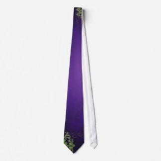 Noble Lime Scroll Purple Silk Wedding Tie