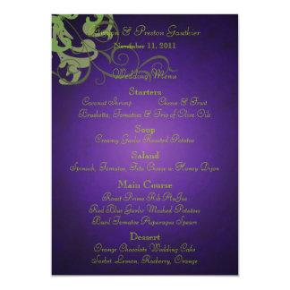 Noble Lime Scroll Purple Wedding Menu Card