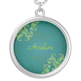Noble Lime Scroll Teal Necklace