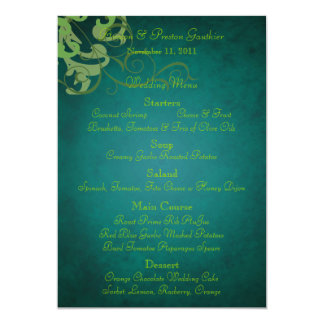 Noble Lime Scroll Teal Wedding Menu Card