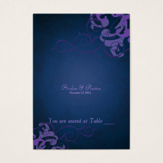 Noble Purple & Blue Scroll Table Placecard Business Card