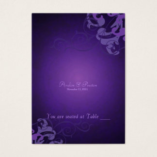 Noble Purple & Liliac Scroll Table Placecard Business Card