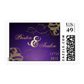 Noble Purple Save The Date Gold Scroll Postage
