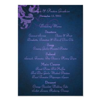 Noble Purple Scroll Blue Wedding Menu Card