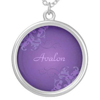 Noble Purple Scroll Purple Necklace