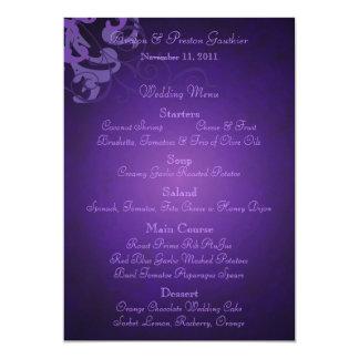 Noble Purple Scroll Purple Wedding Menu Card