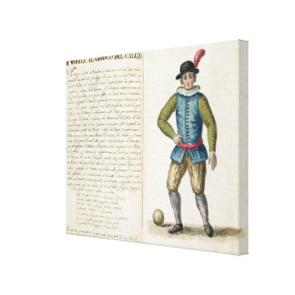 Noble que juega al fútbol, veneciano (manuscrito) impresiones en lienzo estiradas
