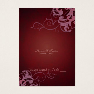 Noble Red & Pink Scroll Table Placecard Business Card