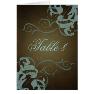 Noble Teal & Brown Scroll Table Card