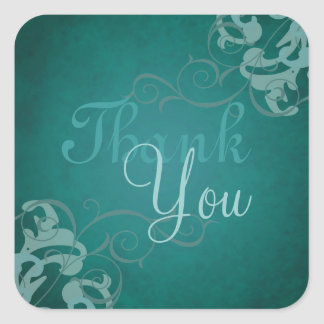 Noble Teal Scroll Teal Thank You Sticker