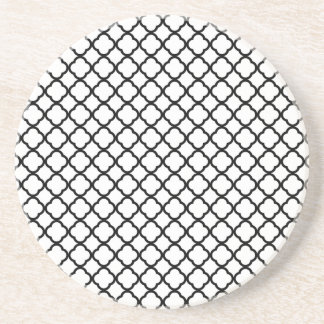 Noble White And Black Quatrefoil. Moroccan Pattern Drink Coaster