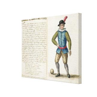 Nobleman playing football, Venetian (manuscript) Canvas Print
