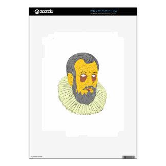 Nobleman Wearing Ruff Collar Grime Art Decal For iPad 2