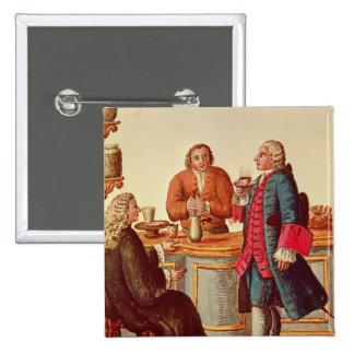 Nobles venecianos en un café pin cuadrado