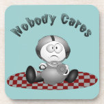 """Nobody Cares Cork Coaster<br><div class=""""desc"""">My funny special character thinks nobody cares. Great gift for your favorite &quot;pouter&quot;.</div>"""