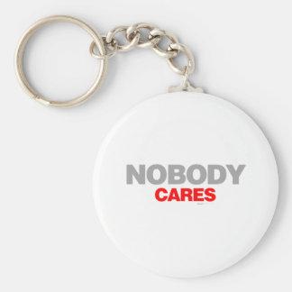 Nobody Cares - sad shout emo shut up funny Basic Round Button Keychain