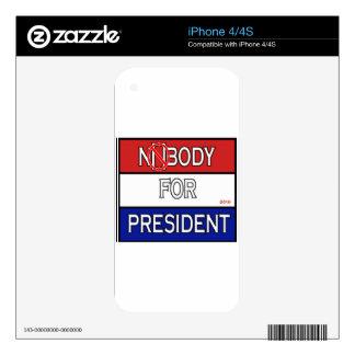 Nobody for President 2016 full Product line Skins For iPhone 4S