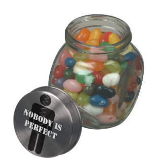 Nobody is perfect jelly belly candy jar