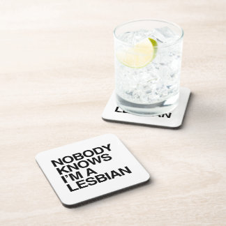 NOBODY KNOWS I'M A LESBIAN -.png Drink Coasters