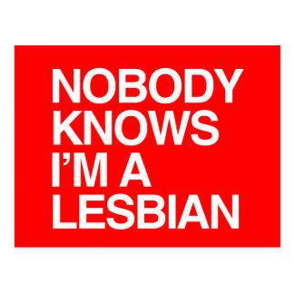 NOBODY KNOWS I'M A LESBIAN - WHITE -.png Postcard