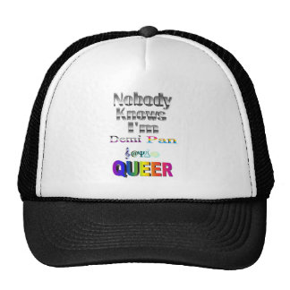 Nobody Knows I'm Demi Pan SM Sapio QUEER Trucker Hat