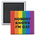NOBODY KNOWS I'M GAY 2 INCH SQUARE MAGNET